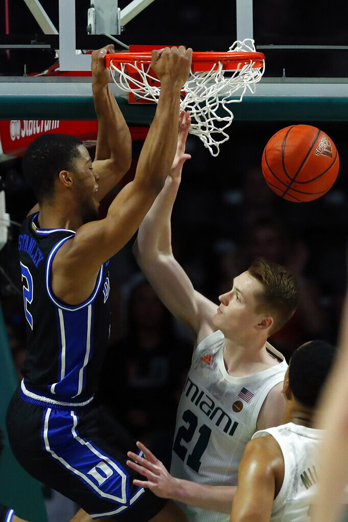 Duke guard Cassius Stanley (2) dunks the ball against Miami forward Sam Waardenburg (21) during the first half of an NCAA college basketball game, Saturday, Jan. 4, 2020, in Coral Gables, Fla. (AP Photo/Wilfredo Lee)