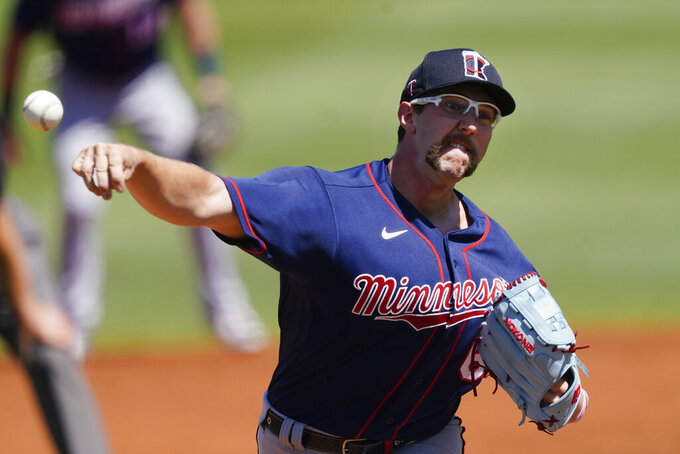 Minnesota Twins pitcher Randy Dobnak (68) works in the second inning of a spring training baseball game against the Tampa Bay Rays Saturday, March 13, 2021, in Port Charlotte, Fla.. (AP Photo/John Bazemore)