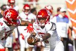 Louisville quarterback Malik Cunningham (3) hands off to running back Javian Hawkins (10) in the first half of an NCAA college football game against Florida State in Tallahassee, Fla., Saturday, Sept. 21, 2019. (AP Photo/Mark Wallheiser)