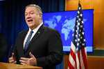 Secretary of State Mike Pompeo speaks about Iran, Tuesday Jan. 7, 2020, at the State Department in Washington. (AP Photo/Jacquelyn Martin)