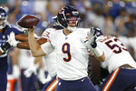 Chicago Bears quarterback Nick Foles (9) plays against the Tennessee Titans in the second half of a preseason NFL football game Saturday, Aug. 28, 2021, in Nashville, Tenn. (AP Photo/Wade Payne)