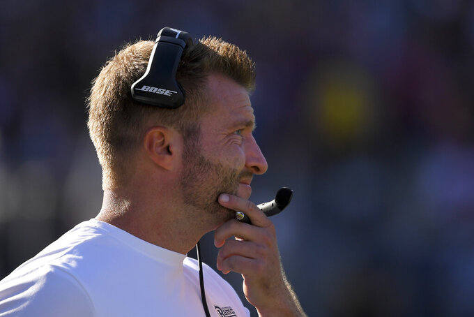 Los Angeles Rams head coach Sean McVay watches during the second half of an NFL football game against the Tampa Bay Buccaneers Sunday, Sept. 29, 2019, in Los Angeles. (AP Photo/Mark J. Terrill)