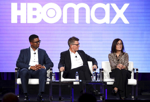 FILE - In this Jan. 15, 2020, file photo, EVP of Content Acquisitions for TNT, TBS, truTV, HBO & HBO MAX Michael Quigley, from left, Chief Content Officer, HBO MAX and President, TNT,TBS, & truTV Kevin Reilly and Head of Original Content , HBO MAX Sarah Aubrey appear at the HBO Max Executive Sessions panel during the HBO TCA 2020 Winter Press Tour at the Langham Huntington in Pasadena, Calif. (Photo by Willy Sanjuan/Invision/AP, File)
