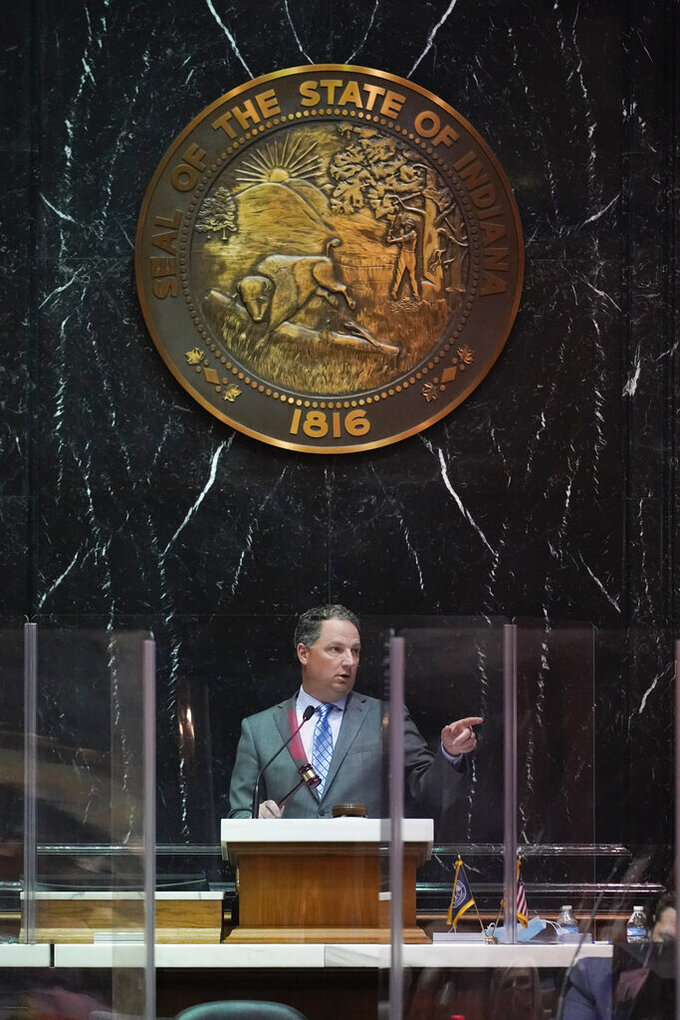 Indiana House Speaker Todd Huston speaks during a session at the Statehouse, Thursday, April 22, 2021, in Indianapolis. (AP Photo/Darron Cummings)