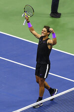Rafael Nadal, of Spain, celebrates after defeating Matteo Berrettini, of Italy, in the men's singles semifinals of the U.S. Open tennis championships Friday, Sept. 6, 2019, in New York. (AP Photo/Sarah Stier)