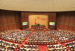Members of Vietnam's National Assembly attend a session in Hanoi, Vietnam Oct. 20, 2018. Vietnam on Monday, June 8, 2020, ratified a significant trade deal with the European Union, which is expected boost the country's manufacturing sector and exports, as it recovers from a dip caused by the coronavirus pandemic. (AP Photo/Hau Dinh)