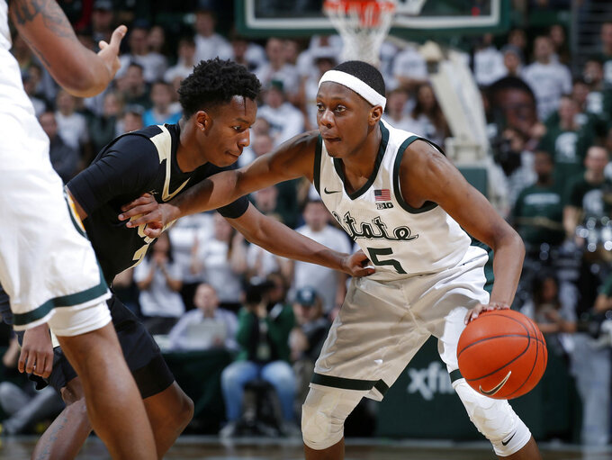 No. 6 Michigan State shakes off bad start, tops Purdue 77-59