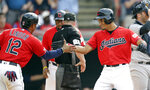 Cleveland Indians' Oscar Mercado, right, is congratulated by Francisco Lindor after hitting a two-run home run off New York Yankees starting pitcher CC Sabathia in the fifth inning in a baseball game, Saturday, June 8, 2019, in Cleveland. Lindor also scored on the play. (AP Photo/Tony Dejak)