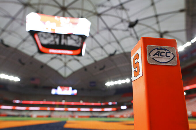 The Carrier Dome is viewed before an NCAA college football game between Syracuse and Clemson in Syracuse, N.Y., Friday, Oct. 15, 2021. (AP Photo/Joshua Bessex)