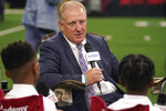 Kansas State head football coach Chris Klieman answers a question from student journalists during NCAA college football Big 12 media days Wednesday, July 14, 2021, in Arlington, Texas. (AP Photo/LM Otero)
