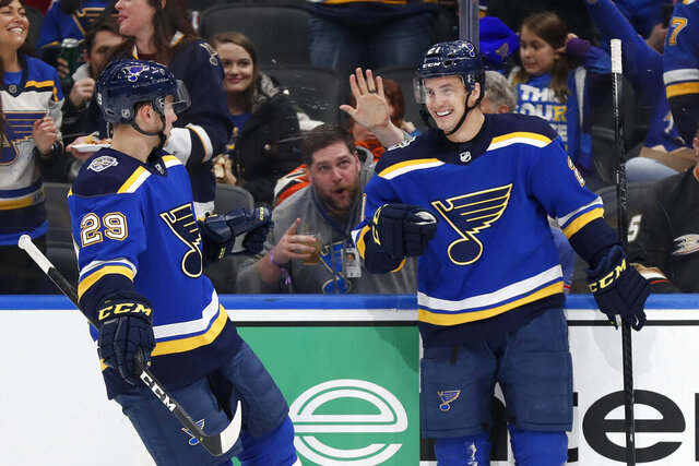 St. Louis Blues' Tyler Bozak, right, is congratulated by Vince Dunn (29) after scoring during the second period of an NHL hockey game against the Anaheim Ducks Monday, Jan. 13, 2020, in St. Louis. (AP Photo/Jeff Roberson)