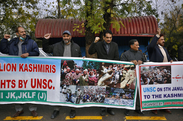 Supporters of the civil society group, Jammu Kashmir Forum, take part in a demonstration to mark, The Right to Self-determination Day,