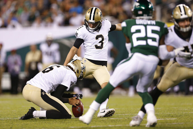New Orleans Saints Wil Lutz (3) kicks a field goal during the first half of the team's preseason NFL football game against the New York Jets on Saturday, Aug. 24, 2019, in East Rutherford, N.J. (AP Photo/Adam Hunger)