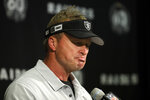 Oakland Raiders head coach Jon Gruden listens to questions during a news conference at the end of an NFL football game against the Kansas City Chiefs Sunday, Sept. 15, 2019, in Oakland, Calif. Kansas City won the game 28-10. (AP Photo/Ben Margot)