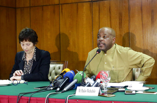Phakiso Mochochoko, director of the Jurisdiction, Complementary and Cooperation Division of the ICC Office of the Prosecutor, speaks during a press conference in Dhaka, Bangladesh, Tuesday, Feb. 4, 2020. Investigators from the International Criminal Court have begun collecting evidence for a case involving alleged crimes against humanity by Myanmar against Rohingya Muslims causing them to flee to neighboring Bangladesh, Mochochoko said Tuesday. He said justice will be delivered whether Myanmar cooperates or not. (AP Photo/Al-emrun Garjon)