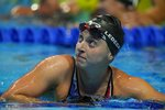 Katie Ledecky reacts after winning the women's 1500 freestyle during wave 2 of the U.S. Olympic Swim Trials on Wednesday, June 16, 2021, in Omaha, Neb. (AP Photo/Charlie Neibergall)
