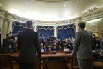 Top U.S. diplomat in Ukraine William Taylor, left, and career Foreign Service officer George Kent arrive to testify during an impeachment hearing of the House Intelligence Committee on Capitol Hill, Wednesday Nov. 13, 2019 in Washington. (AP Photo/Alex Brandon)