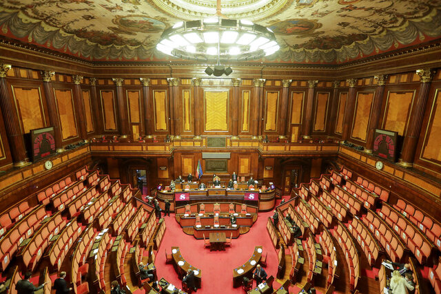 """A new of the Italian Senate, in Rome, Thursday, Jan. 14, 2021. His government risking collapse, Italian Premier Giuseppe Conte will address Parliament on how he plans to deal with the political crisis triggered by a small coalition partner's yanking of support. Conte told President Sergio Mattarella in a meeting Thursday at the presidential palace that he intends to go before Parliament to lay out """"the indispensable political clarification"""" about the crisis, the palace said in a statement. It wasn't immediately announced when that would happen.  (AP Photo/Andrew Medichini)"""