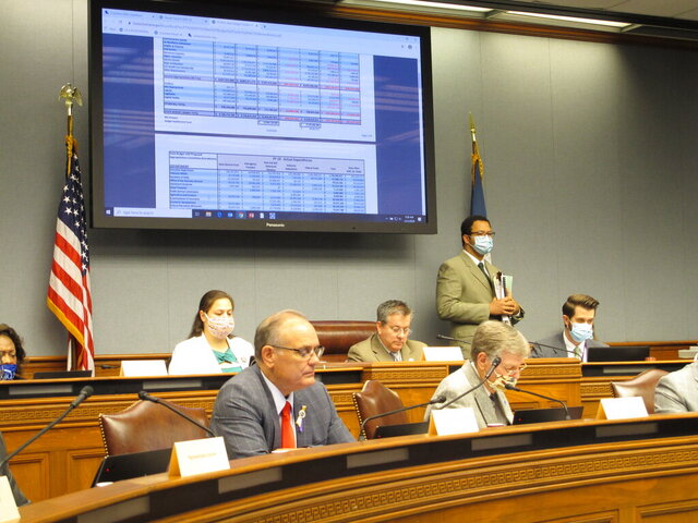 Lawmakers on the House Appropriations Committee read through budget documents on Thursday, May 21, 2020, in Baton Rouge, La. The committee advanced a package of bills to close a $1 billion state budget gap, largely in line with plans recommended by Gov. John Bel Edwards. (AP Photo/Melinda Deslatte)