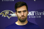 FILE - In this Nov. 4, 2018, file photo, Baltimore Ravens quarterback Joe Flacco speaks at a news conference after an NFL football game against the Pittsburgh Steelers, in Baltimore. A person with knowledge of the trade tells The Associated Press, Wednesday, Feb. 13, 2019, that the Denver Broncos have agreed to acquire Baltimore Ravens quarterback Joe Flacco in exchange for a fourth-round pick in this year's NFL draft. The person spoke on condition of anonymity because neither team announced the deal.(AP Photo/Gail Burton, File)
