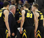 Iowa head coach Fran McCaffery talks to his team during the second half of an NCAA college basketball game against Northwestern, Wednesday, Jan. 9, 2019, in Evanston, Ill. Iowa won 73-63. (AP Photo/Nam Y. Huh)