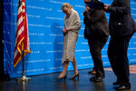 FILE - In this Sept. 12, 2019, file photo Supreme Court Justice Ruth Bader Ginsburg departs after speaking at Georgetown Law in Washington. Ginsburg is perhaps the most forthcoming member of the Supreme Court when it comes to telling the public about her many health issues. But she waited more than four months to reveal that her cancer had returned and that she was undergoing chemotherapy. (AP Photo/Andrew Harnik, File)