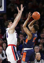 Pepperdine guard Jade' Smith, right, shoots over Gonzaga forward Corey Kispert during the first half of an NCAA college basketball game in Spokane, Wash., Thursday, Feb. 21, 2019. (AP Photo/Young Kwak)