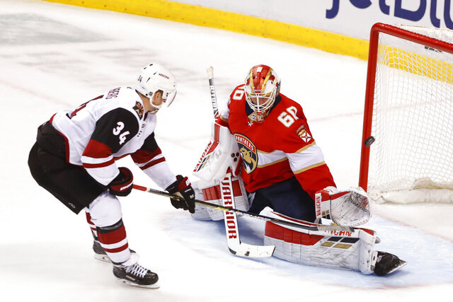 Arizona Coyotes center Carl Soderberg (34) scores a goal against Florida Panthers goaltender Chris Driedger (60) during the third period of an NHL hockey game Tuesday, Jan. 7, 2020 in Sunrise, Fla. The Coyotes won 5-2. (AP Photo/Wilfredo Lee)