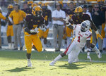 Arizona State running back Eno Benjamin (3) runs by Utah defensive back Jaylon Johnson (1) for a touchdown in the second half during an NCAA college football game, Saturday, Nov. 3, 2018, in Tempe, Ariz. (AP Photo/Rick Scuteri)