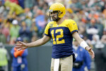 Green Bay Packers quarterback Aaron Rodgers celebrates during the second half of an NFL football game against the Denver Broncos Sunday, Sept. 22, 2019, in Green Bay, Wis. (AP Photo/Mike Roemer)