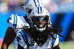 Carolina Panthers cornerback Donte Jackson celebrates during the second half of an NFL football game against the New York Jets Sunday, Sept. 12, 2021, in Charlotte, N.C. (AP Photo/Jacob Kupferman)