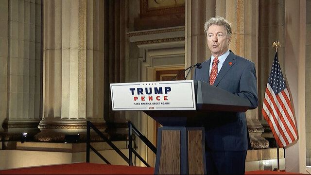 In this image from video, Sen. Rand Paul, R-Ky., speaks from Washington, during the second night of the Republican National Convention on Tuesday, Aug. 25, 2020. (Courtesy of the Committee on Arrangements for the 2020 Republican National Committee via AP)