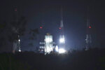 Indian Space Research Organization (ISRO)'s Geosynchronous Satellite launch Vehicle (GSLV) MkIII carrying Chandrayaan-2 stands at Satish Dhawan Space Center after the mission was aborted at Sriharikota in southern India, Monday, July 15, 2019. India has called off the launch of a moon mission to explore the lunar south pole. The Chandrayaan-2 mission was aborted less than an hour before takeoff on Monday. An Indian Space Research Organization spokesman says a