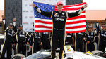 FILE - In this July 4, 2021 file photo, Josef Newgarden celebrates in victory lane after winning an IndyCar race at Mid-Ohio Sports Car Course in Lexington, Ohio.  Newgarden is the toast of Nashville. The Tennessee native has hustled from event to event to promote the IndyCar race held on the city streets.  (AP Photo/Tom E. Puskar, File)