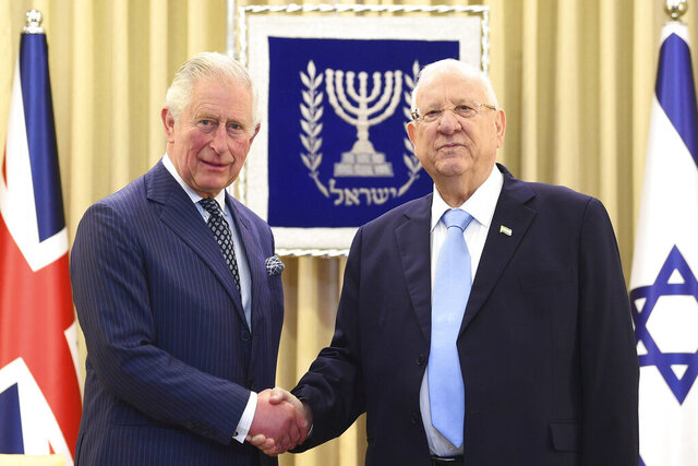 Britain's Prince Charles, left, meets Israel President Reuven Rivlin at his official residence in Jerusalem, Thursday Jan. 23, 2020. Prince Charles is among dozens of presidents, heads of state and dignitaries who have descended upon the city to attend the largest-ever gathering focused on commemorating the Holocaust and combating modern-day anti-Semitism (Victoria Jones/Pool via AP)