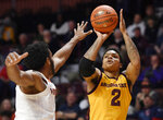 Arizona State's Rob Edwards, right, shoots over Virginia's Braxton Key during the first half of an NCAA college basketball game, Sunday, Nov. 24, 2019, in Uncasville, Conn. (AP Photo/Jessica Hill)