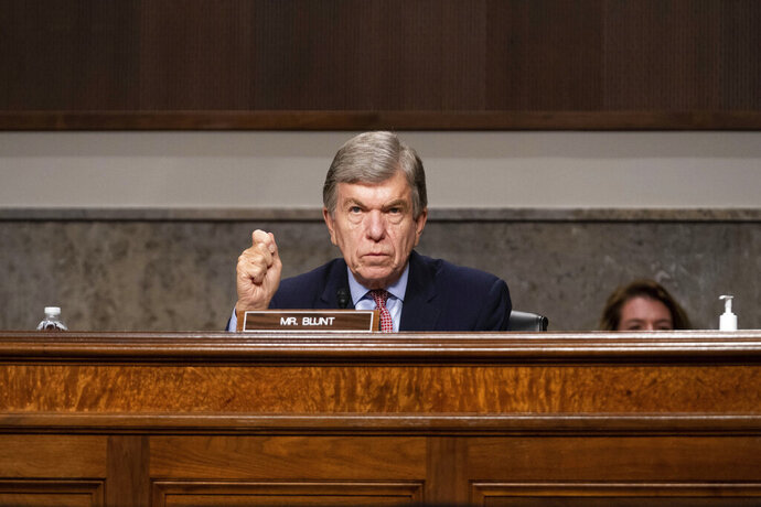 Sen. Roy Blunt, R-Mo., speaks at a hearing with the Senate Appropriations Subcommittee on Labor, Health and Human Services, Education, and Related Agencies, on Capitol Hill in Washington, Wednesday, Sept. 16, 2020. (Anna Moneymaker/New York Times, Pool via AP)