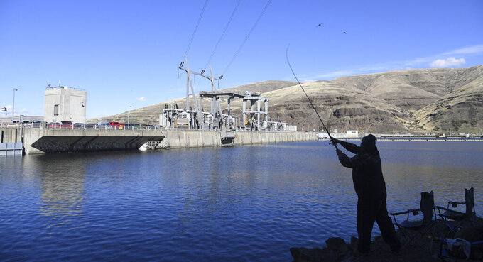 FILE - In this Oct. 19, 2016, file photo, a man fishes for salmon in the Snake River above the Lower Granite Dam in Washington state. A coalition of 17 environmental groups are speaking out against a key part of a sweeping plan to remove the lower Snake River dams to save salmon and steelhead. The groups said in a letter to Democratic senators in Oregon and Washington that the 35-year moratorium on fish- and dam-related lawsuits included in Idaho Republican Rep. Mike Simpson's proposal in exchange for dam removal was too high a price to pay, the Idaho Statesman reported Saturday, March 27, 2021. (Jesse Tinsley/The Spokesman-Review via AP, File)