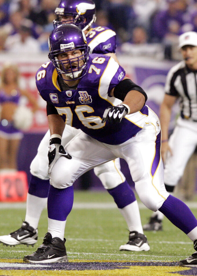 FILE - Minnesota Vikings guard Steve Hutchinson (76) lines up for a play against the Detroit Lions during an NFL football game in Minneapolis, in this Sept. 26, 2010, file photo. Hutchinson set a lot of the standards for NFL guards during his 12-season career spent primarily with the Seattle Seahawks and Minnesota Vikings. After a one-year wait due to the COVID-19 pandemic, Hutchinson will be inducted this weekend into the Pro Football Hall of Fame. (AP Photo/Andy Blenkush, File)