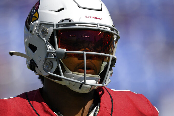 Arizona Cardinals quarterback Kyler Murray warms up before an NFL football game against the Baltimore Ravens, Sunday, Sept. 15, 2019, in Baltimore. (AP Photo/Nick Wass)