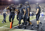 Vanderbilt wide receiver Kalija Lipscomb (16) is congratulated by running back Khari Blasingame (23) after Lipscomb scored a touchdown against Middle Tennessee in the second half of an NCAA college football game Saturday, Sept. 1, 2018, in Nashville, Tenn. Vanderbilt won 35-7. (AP Photo/Mark Humphrey)