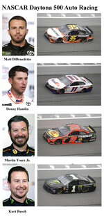 In these photos taken in February 2019, qualifying drivers and their cars in the starting field for Sunday's NASCAR Daytona 500 auto race are shown at Daytona International Speedway in Daytona Beach, Fla. They are, from top, Row 5, Matt DiBenedetto, Denny Hamlin, Row 6, Martin Truex Jr. and Kurt Busch. (AP Photo)