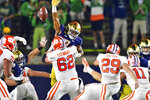 Clemson's B.T. Potter (29) kicks a field goal against Notre Dame during the second quarter in an NCAA college football game Saturday, Nov. 7, 2020, in South Bend, Ind. (Matt Cashore/Pool Photo via AP)