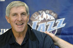 FILE - In this May 12, 2005, file photo, Utah Jazz coach Jerry Sloan smiles during a news conference in Salt Lake City. The Utah Jazz have announced that Jerry Sloan, the coach who took them to the NBA Finals in 1997 and 1998 on his way to a spot in the Basketball Hall of Fame, has died. Sloan died Friday morning, May 22, 2020, the Jazz said, from complications related to Parkinson's disease and Lewy body dementia. He was 78. (AP Photo/Fred Hayes, File)