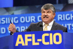 FILE - In this Sept. 9, 2013 file photo, AFL-CIO President Richard Trumka speaks in Los Angeles.  The longtime president of the AFL-CIO labor union has died. News of Richard Trumka's death was announced Thursday by President Joe Biden and Senate Majority Leader Chuck Schumer. Trumka was 72 and had been AFL-CIO president since 2009, after serving as the organization's secretary-treasurer for 14 years.  (AP Photo/Nick Ut, File)