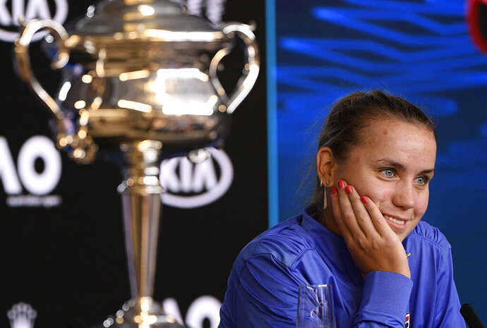 Sofia Kenin of the U.S. answers questions at a press conference following her win over Spain's Garbine Muguruza in the women's final at the Australian Open tennis championship in Melbourne, Australia, Saturday, Feb. 1, 2020. (AP Photo/Andy Brownbill)