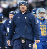 FILE- In this Dec. 28, 2017, file photo, Navy head coach Ken Niumatalolo watches from the sideline in the first half of the Military Bowl NCAA college football game in Annapolis, Md. Mired in a three-game losing streak and desperate to get some production from its struggling offense, Navy faces the unenviable task of going up against surging Houston and standout defensive tackle Ed Oliver. Niumatalolo said Oliver is one of two defensive linemen for which his coaching staff has needed to prepare a special game plan. (AP Photo/Gail Burton, File)
