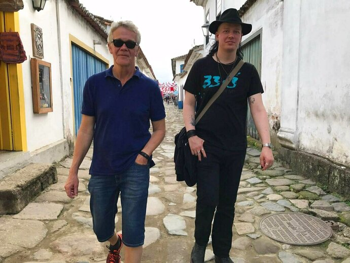 This photo courtesy of Dag Gustafsson, taken by his wife Görel Bini Gustafsson, shows Dag with his son Ola Bini in Paraty, Brazil on May 28, 2017. Bini, a privacy activist who was detained in Ecuador shortly after Julian Assange was arrested in London, said in a statement provided by his attorney that he's being held under