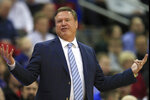 Kansas head coach Bill Self talks to his team during the first half of an NCAA college basketball game against Kansas City in Kansas City, Kan., Saturday, Dec. 14, 2019. (AP Photo/Orlin Wagner)