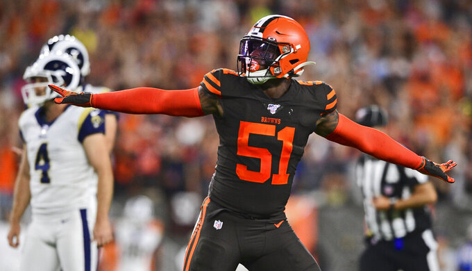 Cleveland Browns linebacker Mack Wilson (51) reacts to a missed field goal by Los Angeles Rams kicker Greg Zuerlein (4) during the first half of an NFL football game, Sunday, Sept. 22, 2019, in Cleveland. (AP Photo/David Dermer)